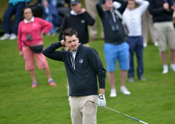 Steffan O'Hara (Co Sligo) cannot believe his chip at the 18th green did not fall in the AIG Senior Cup at Carton House today (20/09/2014). Pictures by Pat Cashman