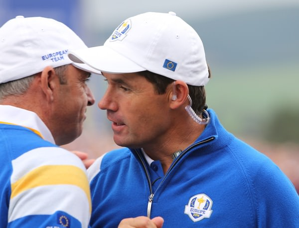 Paul McGinley and Padraig Harrington during the Sunday singles matches. Picture www.golffile.ie
