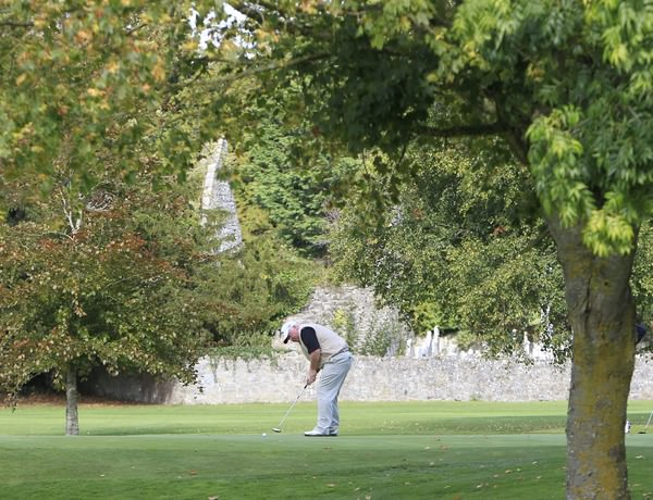 Brendan McvGovern (Headfort) on the 15th green during the opening round of the 104th Irish PGA Championship at Adare Manor Golf Club, 2nd October 2014. Picture: Thos Caffrey / www.golffile.ie