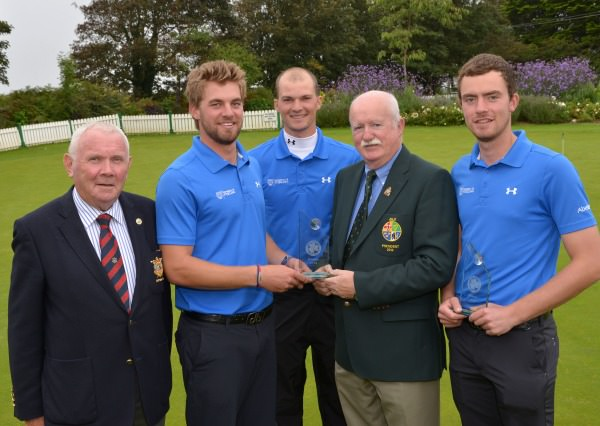 Liam Martin (President, Golfing Union of Ireland) presenting the University of Stirling team of Mathias Eggenberger, Marco Iten and Henry Tomlinson with first prize after their victory in the 2014 Irish Colleges Invitational Tournament at County Louth Golf Club (03/10/2014). Also in the picture is Paddy Nelson (Captain, County Louth Golf Club). Picture byPat Cashman