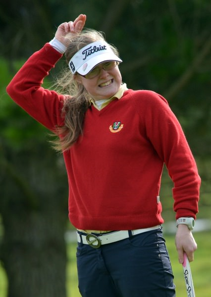 Lorna Mullally (Tuam) reacts to a missed putt on the 8th green during the 2014 Miele All Ireland Ladies Interclub Fourball final at Naas Golf Club today (05/10/2014). Picture by Pat Cashman
