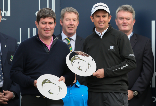 Pro-Am winner Kieran McManus and Peter Lawrie. Picture Stuart Adams, www.golftourimages.com