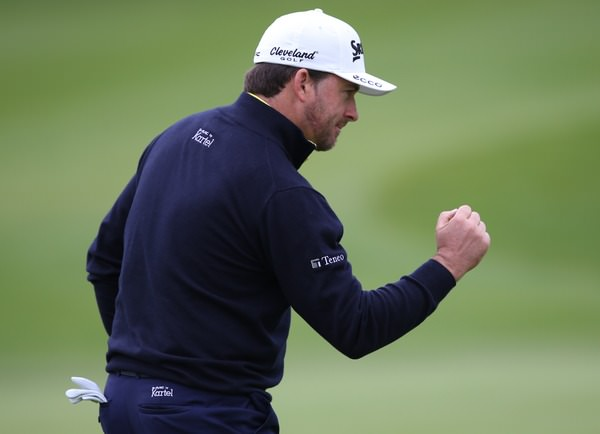Defending champion Graeme McDowell fist pumps after going dormie three in his opening match at the Volvo World Match Play. Picture: David Lloyd / www.golffile.ie