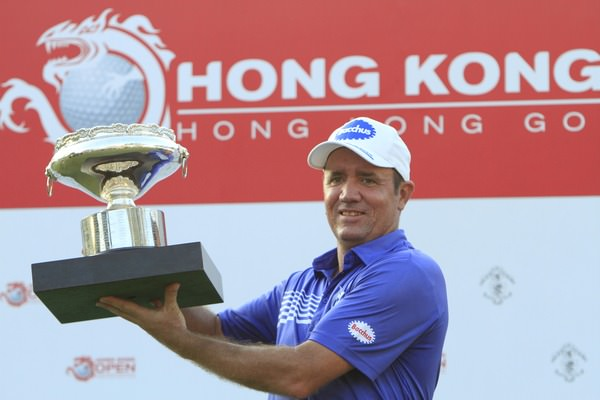 Scott Hend with the 2014 Hong Kong Open trophy. Picture: Thos Caffrey / www.golffile.ie