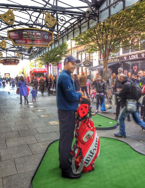 "Pádraig Harrington poses outside The Gaiety to promote ""An Evening with Pádraig Harrington"" on January 20."