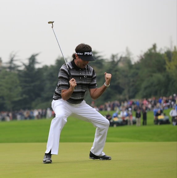 Bubba Watson celebrates his winning birdie putt at the first extra hole in Shanghai. Picture: Eoin Clarke www.golffile.ie