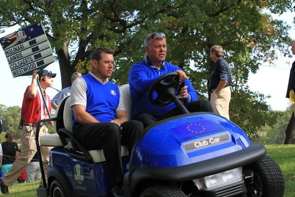 Lee Westwood and Darren Clarke during practice at the 2012 Ryder Cup in Chicago. Clarke was an assistant captain. Picture: Fran Caffrey /  www.golffile.ie
