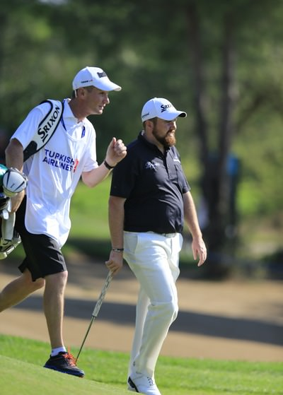 Shane Lowry and his caddie Dermot Byrne during the Turkish Airlines Open. Picture Fran Caffrey  www.golffile.ie