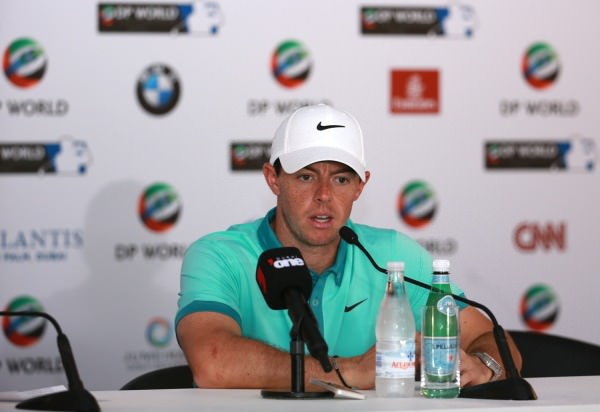 Rory McIlroy speaking in Dubai on Tuesday. Picture © Getty Images