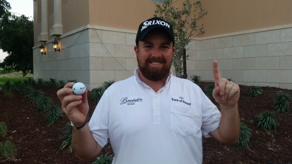 Feeling ace. Shane Lowry celebrates his first hole-in-one in competition.