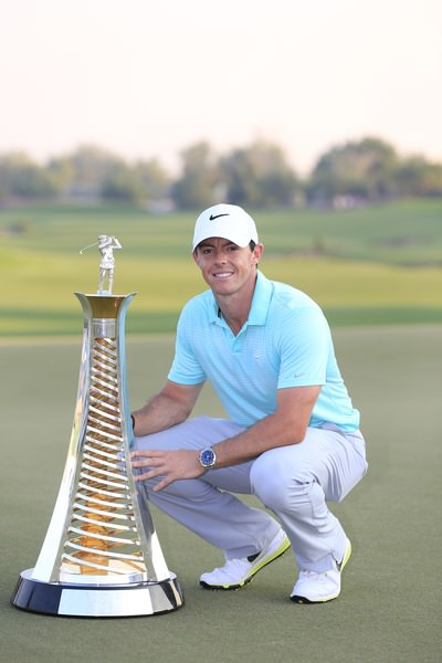 Rory McIlroy with the Harry Vardon Trophy for winning the Race to Dubai trophy. Picture Fran Caffrey,  www.golffile.ie