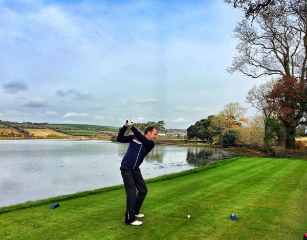 David O'Sullivan in action in the PGB Munster Winter Series Fourball event at Fota Island. Picture courtesy Pádraig Dooley / Drive Golf Performance