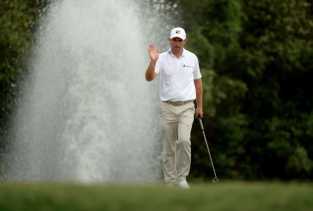 Happiness is a long walk with a putter. Pádraig Harrington drains another putt in Indonesia. Picture via AsianTour.com