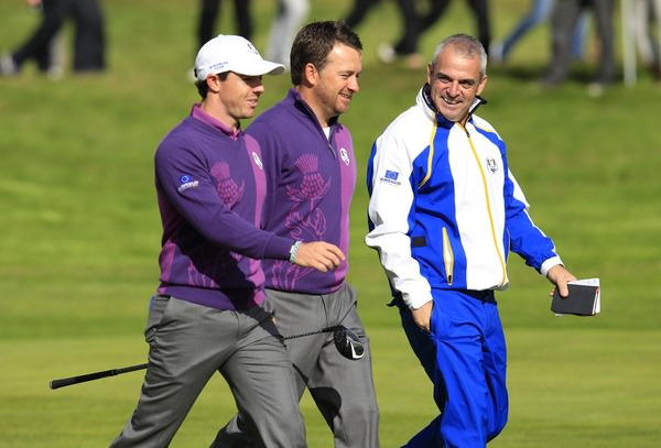 Paul McGinley with his little black book and potential Olympic athletes Rory McIlroy and Graeme McDowell during the Ryder Cup at Gleneagles. Picture Eoin Clarke, www.golffile.ie