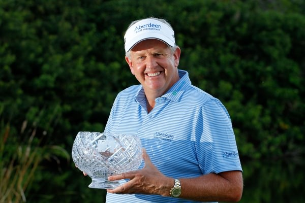 Colin Montgomerie with the  John Jacobs Trophy for winning the European Senior Tour's Order of Merit. Picture ©   Getty Images.