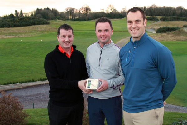 Munster PGA Captain Liam Burns presents Wayne O'Callaghan with first prize in the PGB Munster Winter Series Event, sponsored by SkyCaddie. Also pictured, Brady Sherwood, Director of Golf, Castlemartyr Resort. Picture: Niall O'Shea/CorkGolfNews