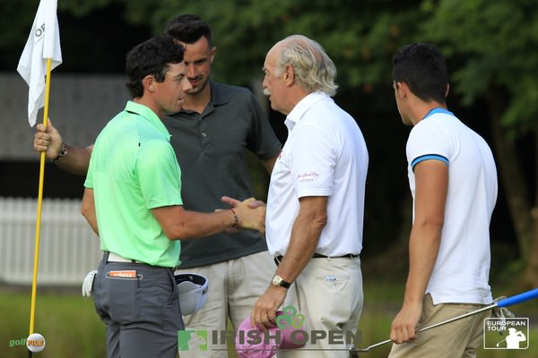 Rory McIlroy and Dermot Desmond during the pro-am for the 2014 Irish Open at Fota Island.  Picture: Eoin Clarke / www.golffile.ie