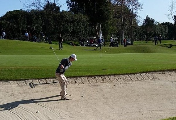 Killarney's Tommy O'Driscoll gets up and down for par at the par-three ninth in the final round of the Copa Andalucía at  Real Club de Golf Guadalmina