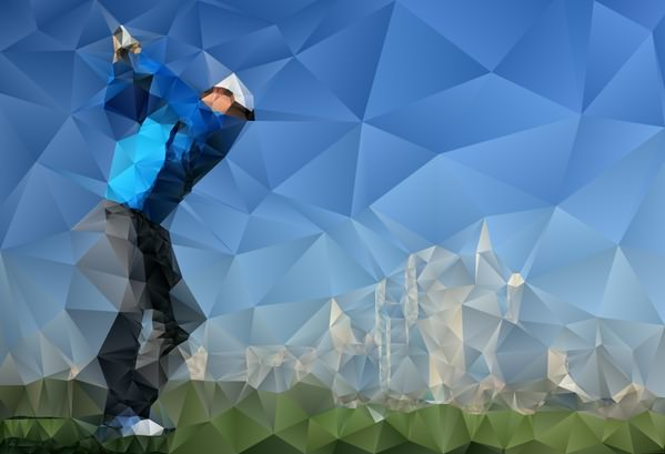 Rory McIlroy in Dubai. Picture by @Getty Images. Effect by @Lowpolybot