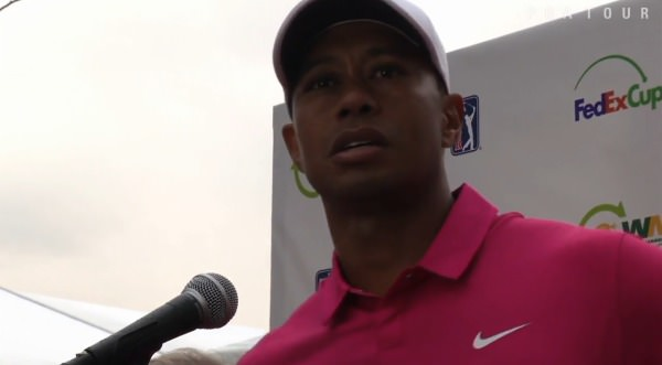 Tiger Woods speaks to reporters after his 73 at TPC Scottsdale