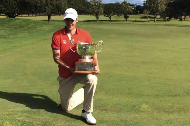 Ugo Coussaud with the the South African Stroke Play Championship trophy