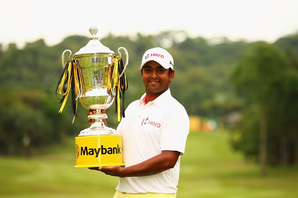 Anirban Lahiri with the Maybank Malaysian Open trophy. Picture © Getty Images