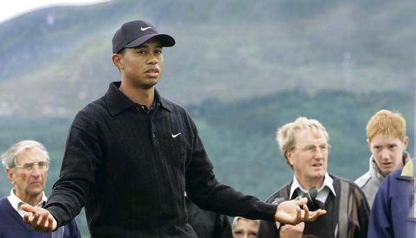 Tiger Woods at Royal County Down in 2005. Picture via Belfast Telegraph