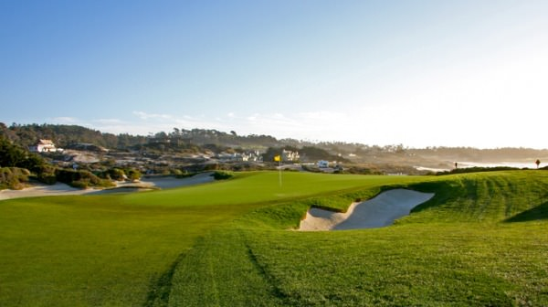 The 13t green at at the Monterey Peninsula Shore Course