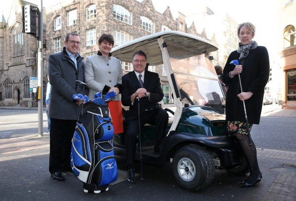 NI Minister for Enterprise, Trade and InvestmentArlene Foster (second from left) pictured with (l-r) Barry Funston ofthe Rory Foundation; Gordon Simpson of TheEuropean Tour and Kathryn Thomson fromTourism NI. Picture:Kelvin Boyes/Press Eye