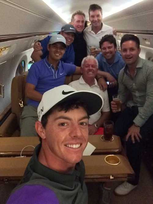 RORY AND HIS ENTOURAGE: (BACK) MICHAEL BANNON (COACH), JP FITZGERALD (CADDIE), BRAD-GEORGE SIMPSON (NIKE GOLF REP),  PAUL MCVEIGH (PERSONAL CHEF). (MIDDLE) HARRY DIAMOND GERRY MCILROY AND SEAN O'FLAHERTY, JET OUT OF LOUISVILLE FOR NEW YORK CITY following his win in last year's US PGA. Picture © Twitter.com/McIlroyrory