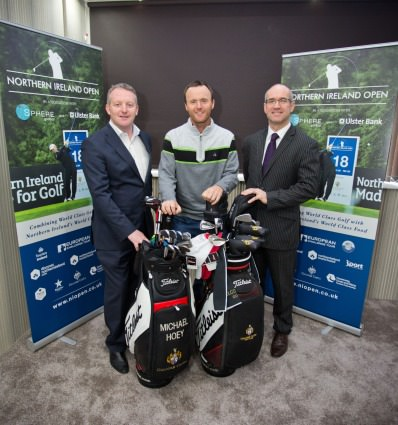 (Left-right) Sean McNicholl (Managing Director SPHERE Global), Michael Hoey (NI Open Event Ambassador) and Neil Cooke (Regional Manager, Ulster Bank Private Banking NI) at the announcement of the title sponsorship of the 2015 Northern Ireland Open.