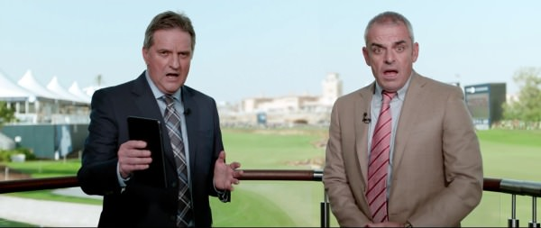 Paul McGinley and Sky presenter David Livingstone in a still from the European Tour's new ad campaign,  Drama on the World Stage'