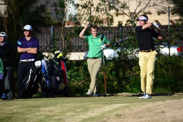 Jack Hume watches Spain's Ivan Cantero tee off. Picture RFEG.es