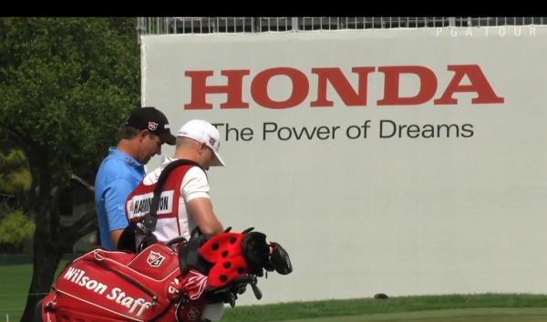 Pádraig Harrington and his caddie, Ronan Flood, at the Honda Classic