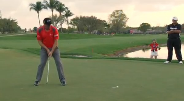 Pádraig Harrington lips out for bogey at the sixth in the final round of the Honda Classic