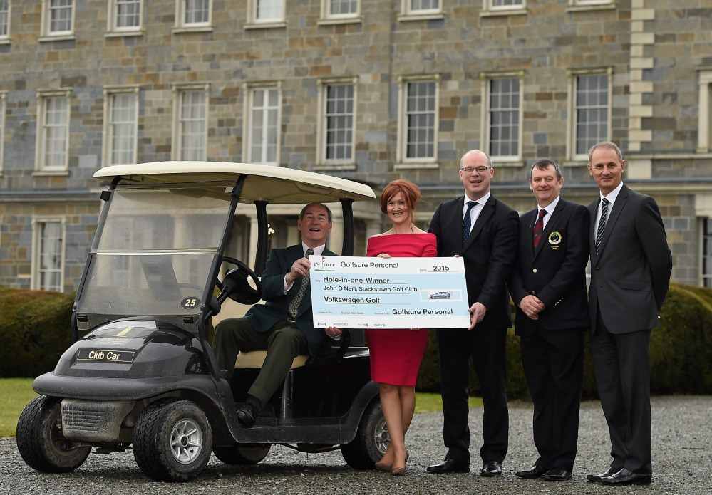 Pictured at Carton House were (left to right) John O'Neill (winner), Lisa Hanbury (Willis.ie), Declan O'Rourke (CEO AIG Ireland), Barry Robinson (Captain Stackstown GC), John Williams (Keegan & Meredith Brokers)