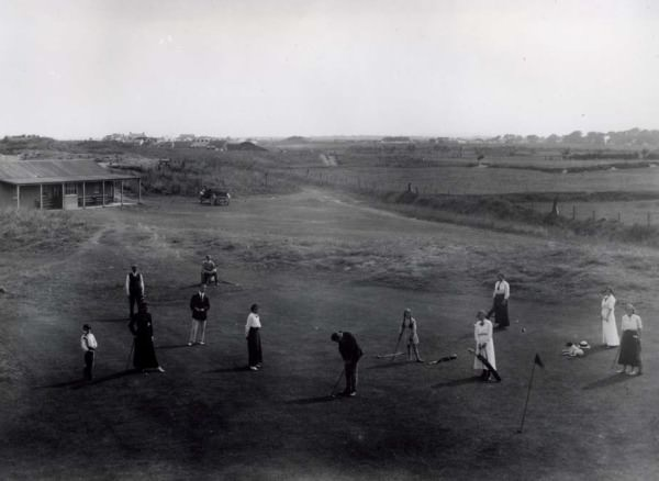 The 18th green and the original clubhouse at Laytown and Bettystown in 1909, the year of the club's foundation. Picture courtesy  Laytown and Bettystown Golf Club