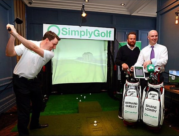 Shane Lowry right with Simply Golf CEO Colm Daly (right) and PGA professional Bernard Quigley (left) at the launch at the Dean Hotel on Harcourt Street in Dublin.