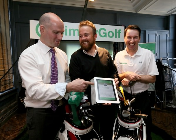 Shane Lowry with Simply Golf's CEO Colm Daly (left) and PGA professional Bernard Quigley