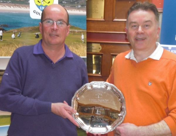 Alliance Captain Brian Wallace presenting the St. Patrick's Plate, which was won earlier in the season, to Eugene Corry, Strabane Golf Club
