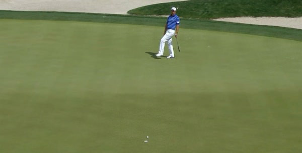Pádraig Harrington rolls in a 41-foot putt at the 11th. Via PGATour.com