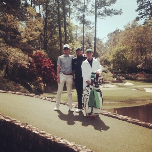 (Left-right) Neil Manchip. Shane Lowry and Dermot McElroy at Augusta National. Picture ©  twitter.com/shanelowrygolf