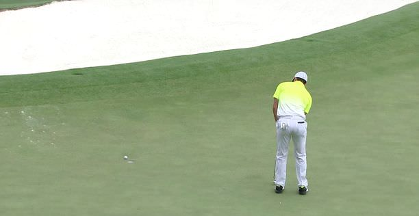 Rory McIlroy misses a birdie chance on the fourth in the final round of the Masters Tournament