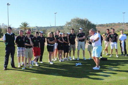 Darren Clarke conducts a clinic for his Foundation in Portugal