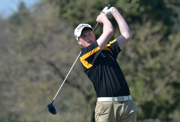 JJ Logue (Royal Belfast Academical Institution) driving at the 1st tee in the final of the 2015 Irish Schools Senior Championship at Farnham Estate Golf Club, Cavan (21/04/2015). Picture by  Pat Cashman