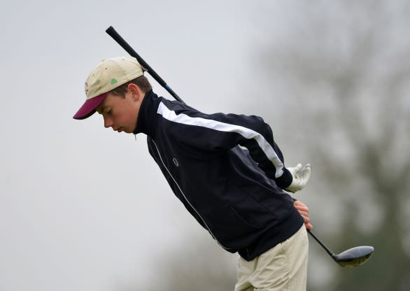 Joseph Keyes (Summerhill College) limbering up to drive at the 1st tee in the final 2015 Irish Schools Junior Championship at Farnham Estate Golf Club (22/04/2015). Picture by Pat Cashman