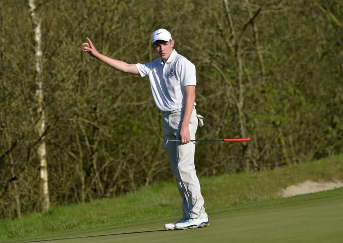 Charlie Marshall (St Andrew's) watching his birdie putt on the 16th green slip by the hole. (21/04/2015).  Picture by  Pat Cashman