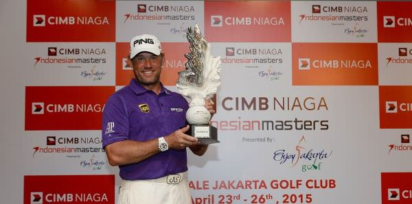 Lee Westwood with the CIMB NIAGA Indonesian Masters trophy. Picture via Asiantour.com