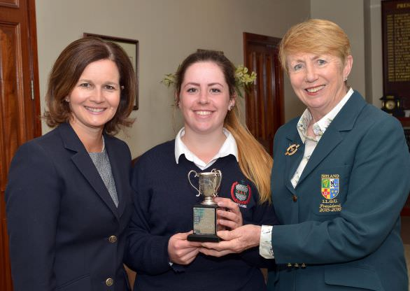 Valerie Hassett (President, Irish Ladies Golf Union) presenting Mary Doyle (Scoil Chriost Ri, Portlaoise) with the Mary Nolan Cup (Best Senior Gross) after her victory in the 2015 Irish Schools Senior & Junior Cup Finals at Milltown Golf Club today (27/04/2015). Also in the picture is Niamh McMurrough (Lady Captain, Milltown Golf Club). Picture by Pat Cashman