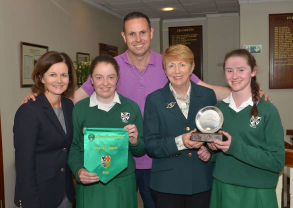 Valerie Hassett presenting Ellen O'Gorman (Muckross College, Dublin) with the Junior Cup. Also in the picture (from left) Niamh McMurrough (Lady Captain, Milltown Golf Club), Anna Foster and John McCarthy (PE Teacher). Picture by Pat Cashman